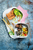 Vegetarian lunch box with falafel, dolmades, tzatziki and pita