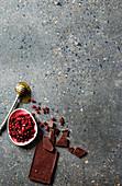 Chocolate, pomegranate seeds and honey