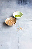 Wasabi and sesame seeds for sushi