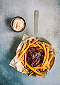 Beetroot and sweet potato fries