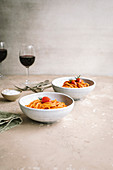Pasta with tomatoes and red wine