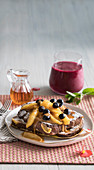 Vanilla french toast with caramelised apples and blueberries, Berry and beetroot smoothie