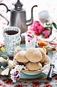 Bread rolls with butter and jam for teatime