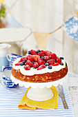 Cake with fruits on top