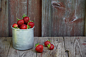 Strawberries in metal container