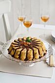 Budino al panettone con cioccolata (panettone pudding with chocolate sauce, Italy)