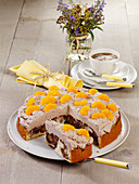 Marble cake with mandarin and cocoa cream