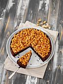 Tarte au chocolat with peanut caramel