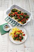 Swabian Laubfrösche (stuffed spinach rolls)