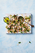 Charred zucchini and white bean salad with parmesan