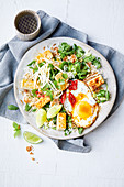 Asian-style crispy egg and rice salad