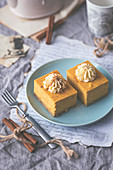 Pumpkin cheesecake with vanilla whipped cream