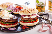 Arabic lamb burgers with a yoghurt-orange dip and homemade harissa