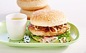 Japanese tuna burger with sushi ginger, black sesame and wakame salad