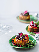 Savoury cheesecake with balsamic roasted baby beetroot
