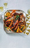 Orange and miso-glazed turkey with sage