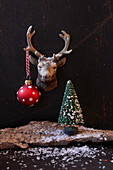 Christmas arrangement of reindeer head, spotted bauble and tiny Christmas tree