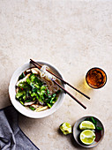 Chicken vermicelli and lemongrass soup
