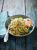 Linguine with pistachio pesto and fish fillet