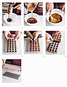 Making chocolate pralines with cassis centres