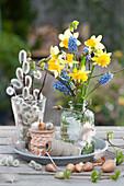 Kleines Frühlings-Arrangement mit Strauß aus Narzissen und Traubenhyazinthe, Steckzwiebeln und Weidenkätzchen
