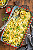 Pasta casserole with chicken Kievs