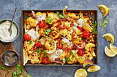 Indian cauliflower and chickpea tray bake