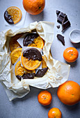 Candied orange slices with chocolate icing