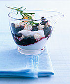 Blueberry and rosemary cream with meringue kisses