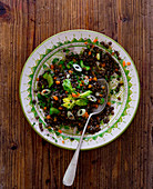 Puy lentil salad with vegetables