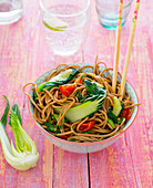 Soba noodles with pak choi