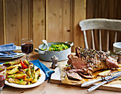One-pan Easter lamb with fennel, potatoes and spring greens