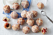 Hot cross bun jam doughnuts