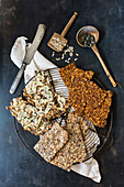Various low-carb crispbread