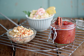 Rhubarb ketchup, shrimp butter and cashew dip