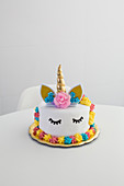 Colourful decorated unicorn cake