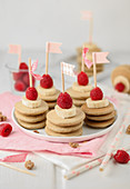 Mini pancake stacks for a child's birthday party