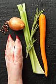 Pork hock and vegetable for stock base