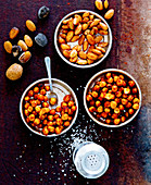 Roasted almonds and chickpeas