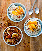 Granola and coconut rice muesli with peaches