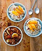 Granola and coconut rice muesli with peaches