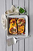 Butternut Roast with Chorizo and Mushroom Stuffing