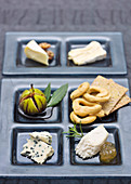 Cheese plate with crackers, fig and chutney