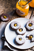 Stuffed Linzer cookies with orange marmalade
