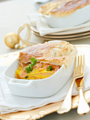Lasagna with salmon under puff pastry at Christmas