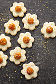 Macadamia nut flower biscuits