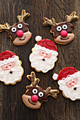 Father Christmas and reindeer biscuits