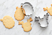 Shortbread biscuits with cutters