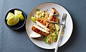 Ginger and lime chicken with lentils