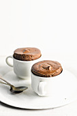 Chocolate souffle in cups